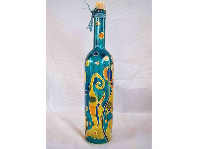 Bottle - hand-painted glass with stained glass paints